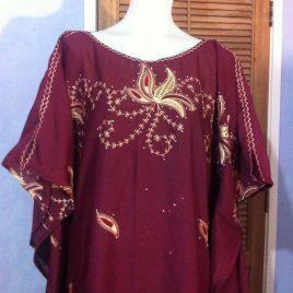 Maroon Embroidery Kaftan