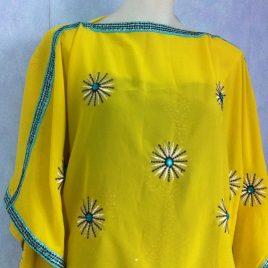 Yellow & Blue Kaftan Top