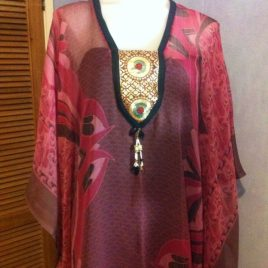 Black Pink Kaftan Dress