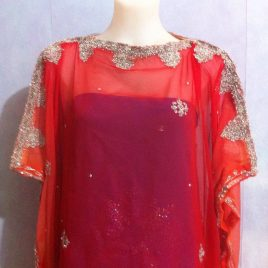 Red Metallic Border Kaftan