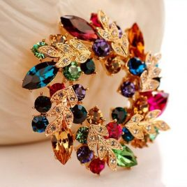 Crystal Gold Brooch