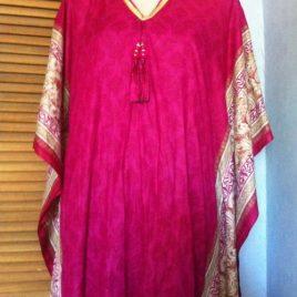 Magenta Cotton Kaftan Dress