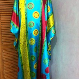 Aqua Sunflower Kaftan Dress