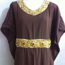 Brown Beady Kaftan Dress