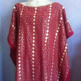 Red Gold Sequin Kaftan