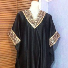 Black Satin Kaftan Abaya