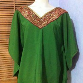 Green Satin Kaftan Top