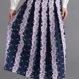 Rose Print Navy Skirt