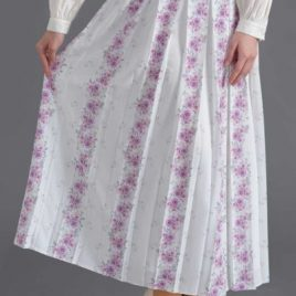 Rose Print White Skirt