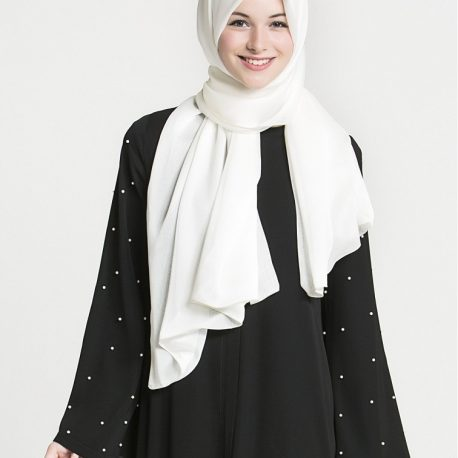 Black abaya white pearl